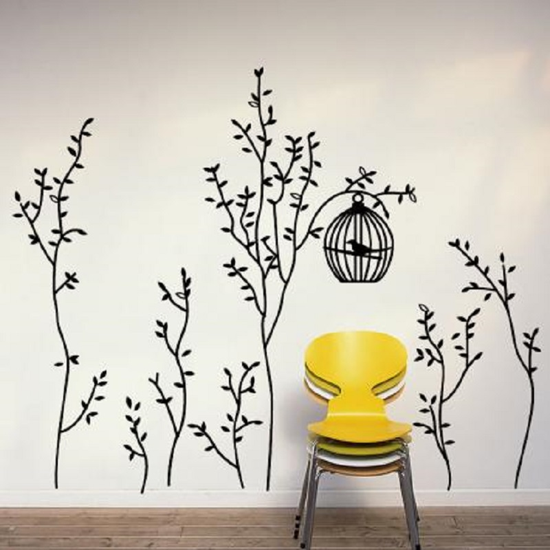 Large Slim Trees Birdcage Removable Wall Art Sticker Decals Home Decor PVC  Mural(China ( Part 19