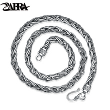 ZABRA Vintage Real Solid 925 Sterling Silver Necklace 55cm Peace Chain Men Steampunk Retro Style Biker Jewelry For Mens