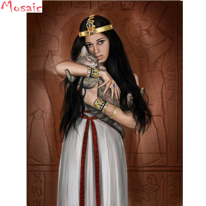 Full Square Drill 5D DIY Diamond Painting Egyptian Queen With Her Cat