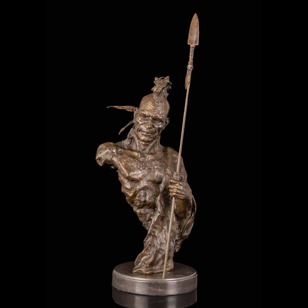 Bronze Abstract  figurine Christmas decor Modern sculpture INDIAN WARRIOR WITH SPEAR