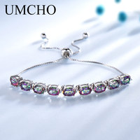 UMCHO Genuine Rainbow Mystic Topaz Bracelets & Bangles Real 925 Sterling Silver Bracelets For Women Free Expansion Fine Jewelry