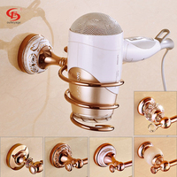 Free Shipping Rose Gold Blowbys Hair Dryer Cylinder Rack Bathroom Wall Shelf