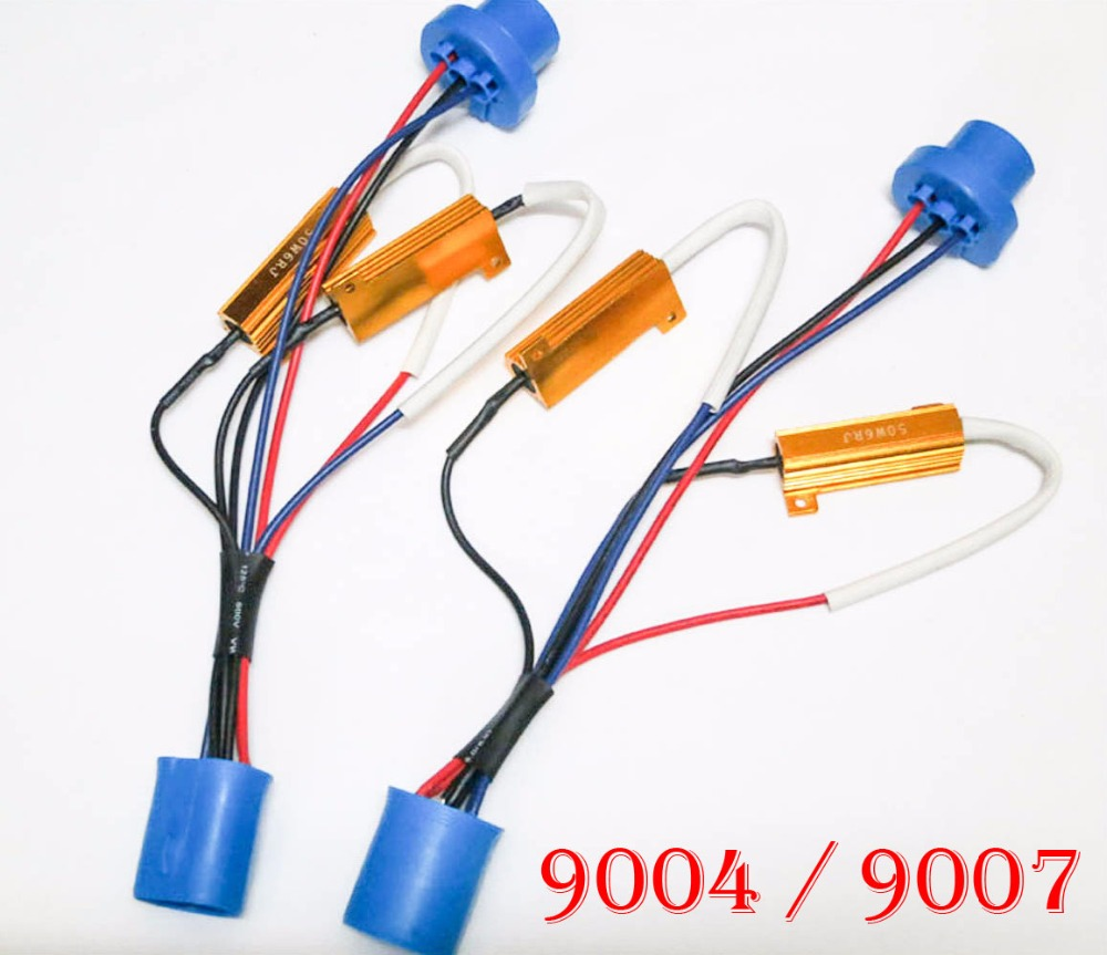 10PCS 50W 6ohm Gold Fuse 9004 9007 HB1 HB5 Hi/Low HID Xenon Kit Canbus Canceller Capacitor No Error Free Decoder Resistor Wiring