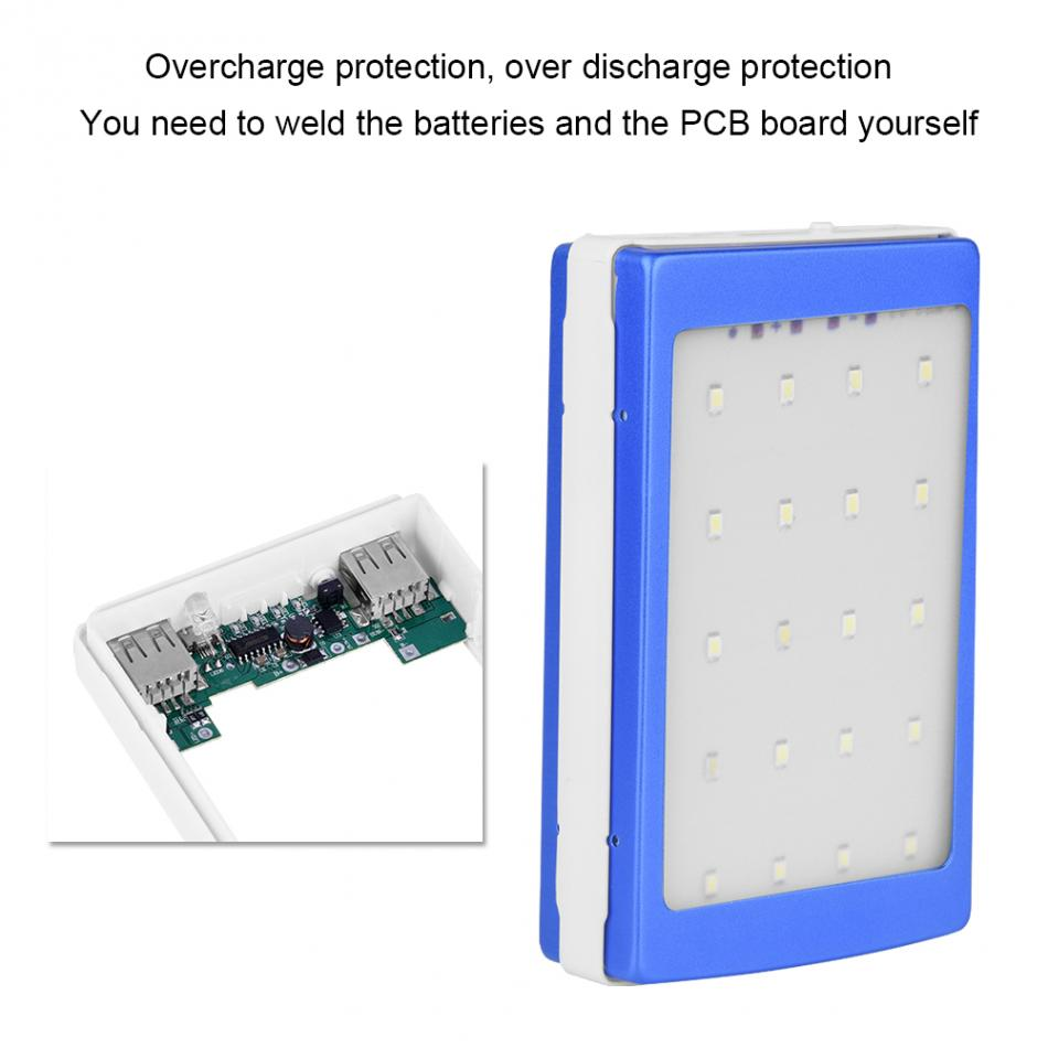 Not Battery Need To Be Assembledsolar Charger Stroange Box Via The Mini Usb Port On Charging Circuit Or Solar Dual Power Bank Case Boxes Diy Kit With Led Flishligh In Storage