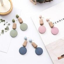 Japan Korean Geometric Irregular Sweet Button Cute Woman Girls Dangle Drop Earrings Fashion Jewelry-MSE
