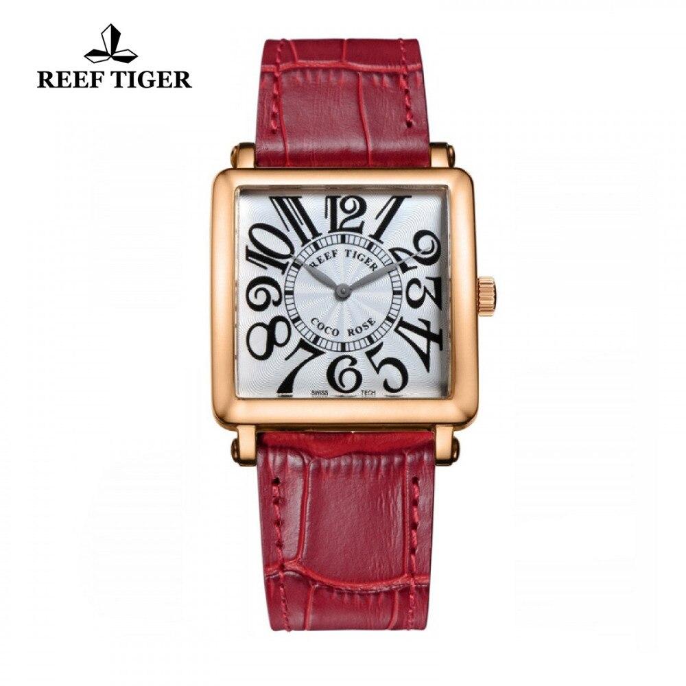 Reef Tiger/RT Brand Watch Luxury Rose Gold Leather Strap Watches Women Quartz  Watch with Arabic Numeral Markers Watch RGA173 вспышка для фотокамеры 2xyongnuo yn600ex rt yn e3 rt speedlite canon rt st e3 rt 600ex rt 2xyn600ex rt yn e3 rt