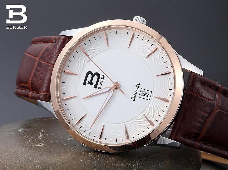 Switzerland luxury brand Men's Watch relogio masculino BINGER quartz clock sapphire leather strap Water Resistance BG-0392 sinobi 9276 female fashionable crystal quartz watch leather strap water resistance