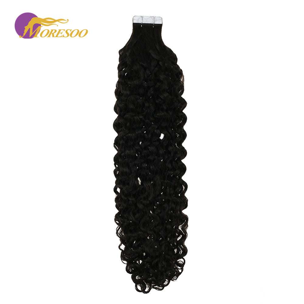 Moresoo Tape In Hair Extensions Kinky Curly Machine Remy Human Hair 20PCS 50G Invisible Seamless Skin Weft Hair Extensions