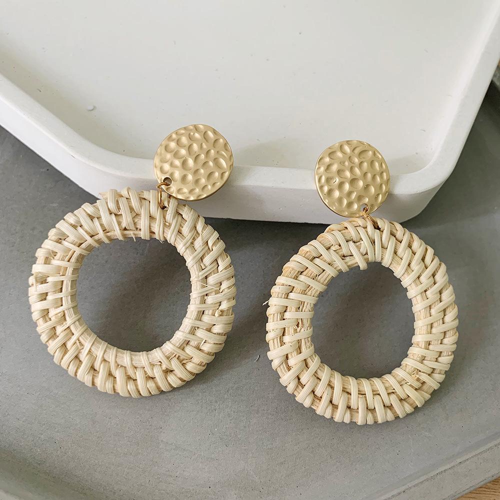 Bohemian Wicker Rattan Knit Pendant Earrings Handmade Wood Vine Weave Geometry Round Statement Long Earrings for Women Jewelry 4