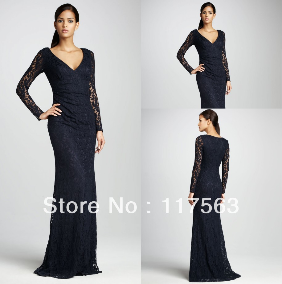 Online Buy Wholesale black long sleeve evening gown from China ...
