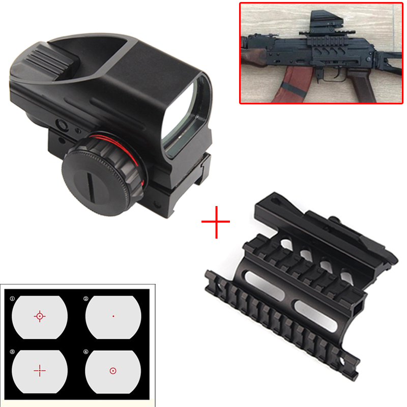 1x22x33 Compact Reflex Red Green Dot Sight Scope 4 Reticle Sight With AK Serie Rail Side Mount For Hunting Airsoft RL5-0032