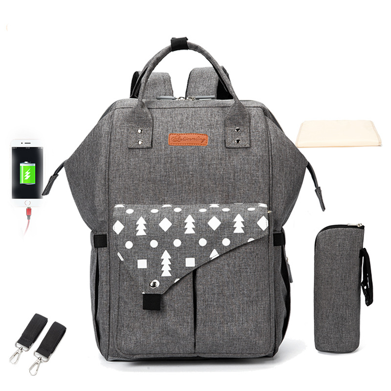 Fashion Diaper Bag Multi-pocket Mummy Maternity Nappy Bag With USB Large Capacity Printed Stroller Travel Backpack Baby Care Bag
