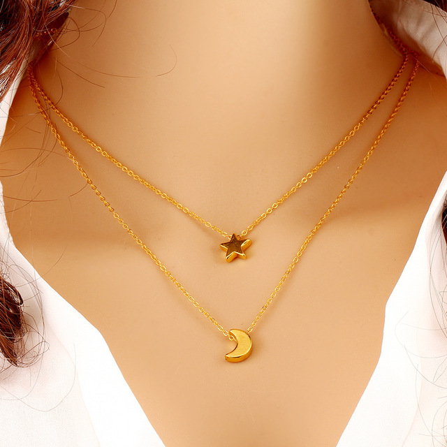 Excellent Gold Stars Moon Pendants Necklaces For Women Double Chain Necklace  ED78