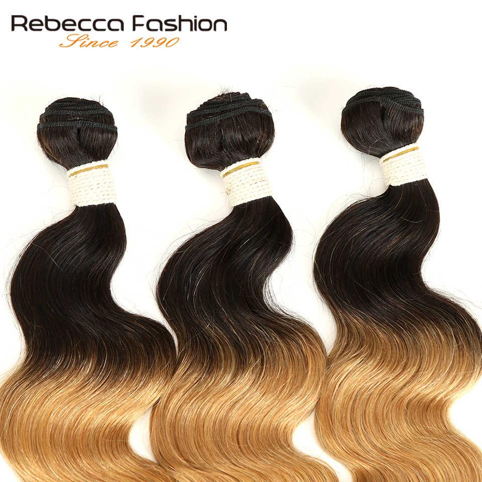Ребекка эффектом деграде (переход от темного к перуанский объемная волна пучки волос 3/4 шт. волосы Remy 100% человеческие волосы пучки 2 тон Цвет T1B/27 # T1B/30 # T1B/99J #