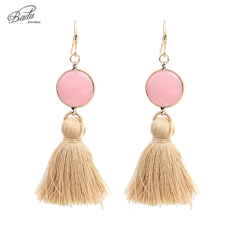 Badu Long Tassel Earrings Dangle Pink Natural Stone Vintage Earring Silver Plated Boho Fashion Jewelry Gift