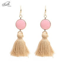 Badu Long Tassel Earrings Dangle Pink Natural Stone Vintage Earring Silver Plated Boho Fashion Jewelry Gift Easter