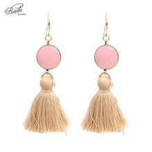 Badu Long Tassel Earrings Dangle Pink Natural Stone Vintage Earring Silver Plated Boho Fashion Jewelry Gift Easter
