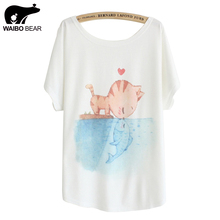 Women's T-shirt  Cat kiss Fish print Top Tees