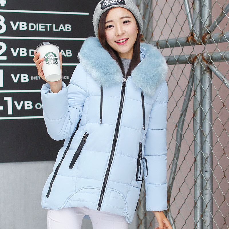 ФОТО Winter Cotton Jacket Female In The Long Section Of Version Of Thick Jacket Large Size Down Slim Cotton Fur Collar Girl WWF35