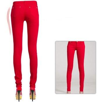 2017 Autumn Women Pencil Jeans Candy Colored Mid Waist Full Length Zipper Slim Fit Skinny Women Pants Hot Fashion Female Jeans 1
