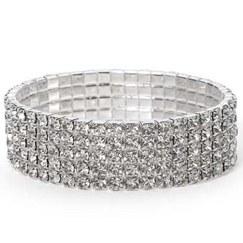 Fashion Wedding 1 To 6 Row Crystal Bracelet Jewelr...