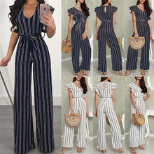 HIRIGIN Women Clubwear Playsuit Party Jumpsuit Casual Striped Loose Rompers Chiffon Long Summer Trousers