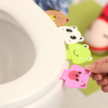Cute Cartoon Toilet Cover Lifting Device Bathroom Lid Handle Sticker Portable Sanitary Seat Accessories