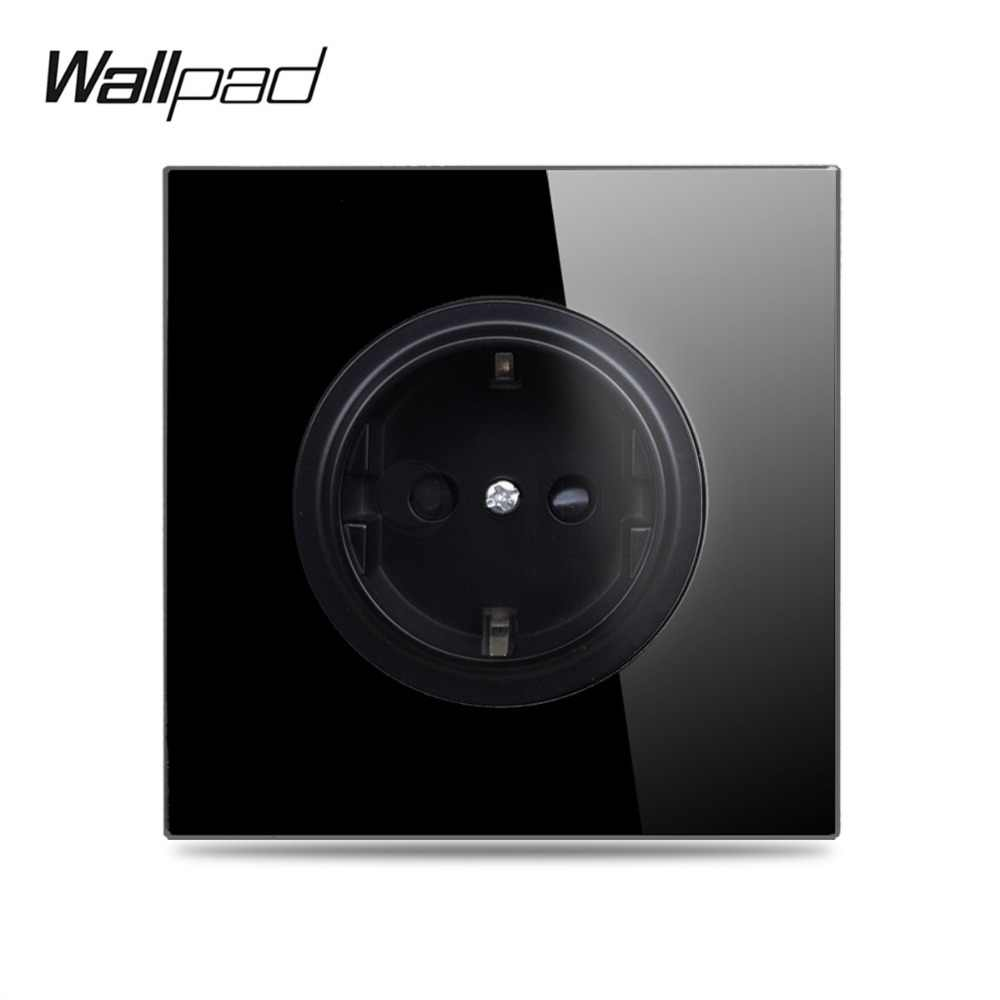 Wallpad L6 Black Tempered Glass Panel EU Wall Socket Electrical Power German Outlet 16A Round Design