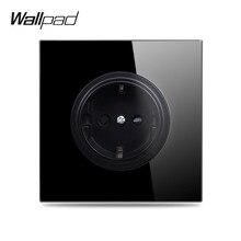 Адррес Wallpad L6 черное закаленное стекло Панель настенная евро розетка электрические Мощность Пособия по немецкому языку Outlet 16A круглый дизайн
