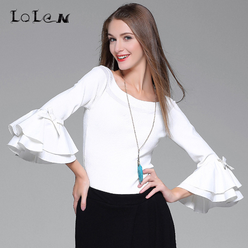 3cb956aecd3915 LOLEN 2017 New Women s Flare Sleeve Sweaters Fashion Sexy Slim Bottoming  Tops - us5