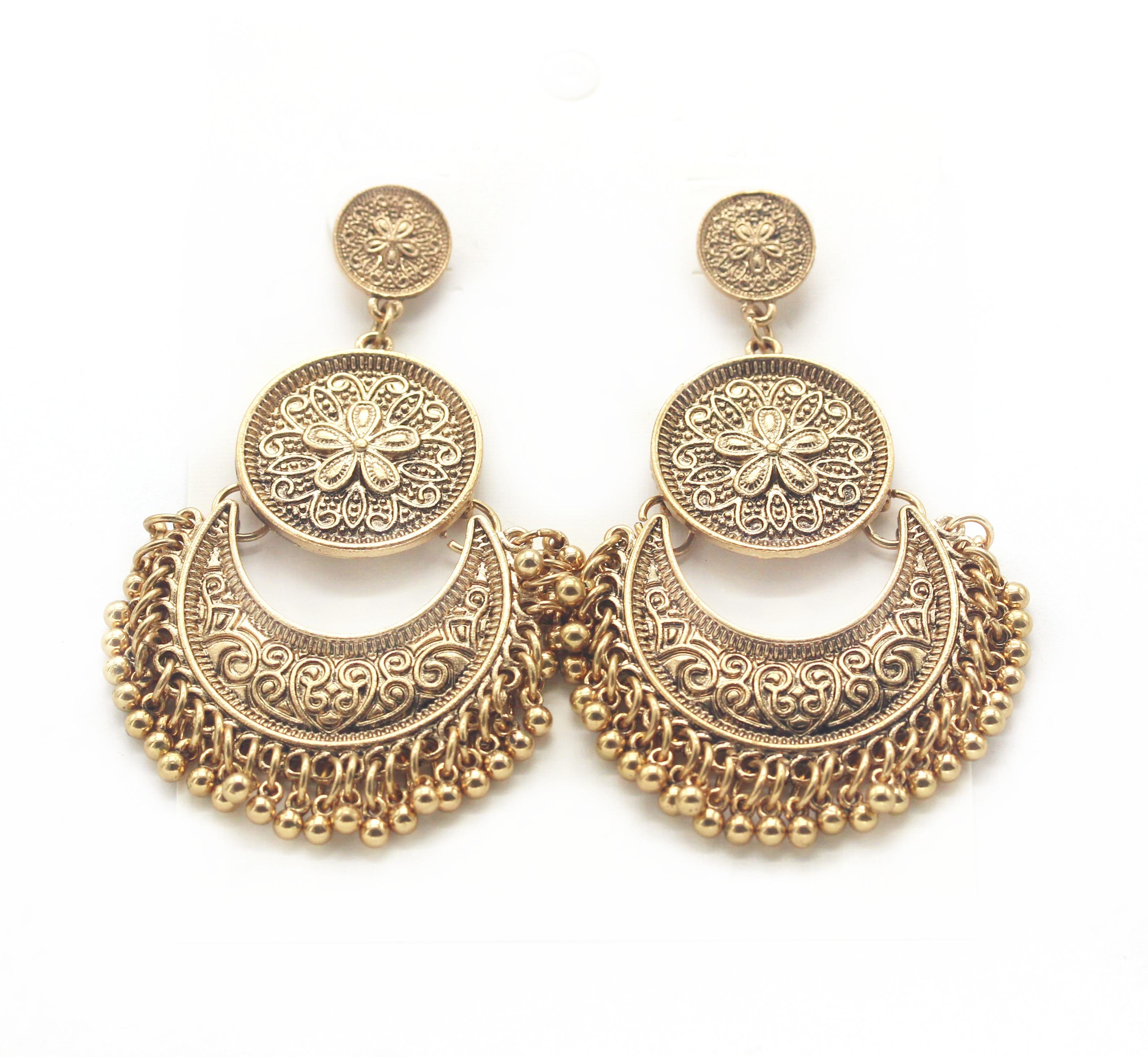 Ahmed Jewelry 2016 New Zinc Alloy Vintage Brand Stud Earring Bohemia Flower  Big Long Metal Earrings Female