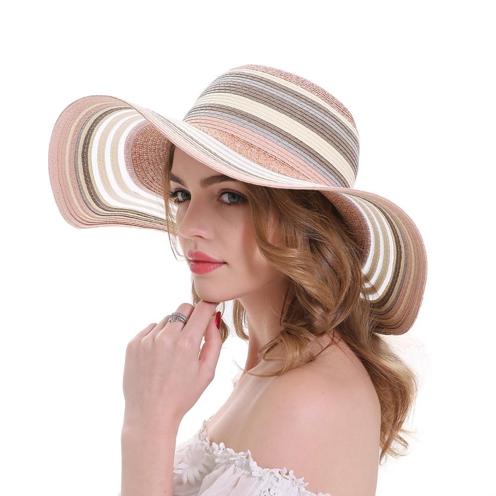 MEEFUR Floppy Stripes Big Brim Beach Hat Ladies Travel Packable Caps Summer Anti-UV Protection UPF 50+ Adjustable Straw Hats