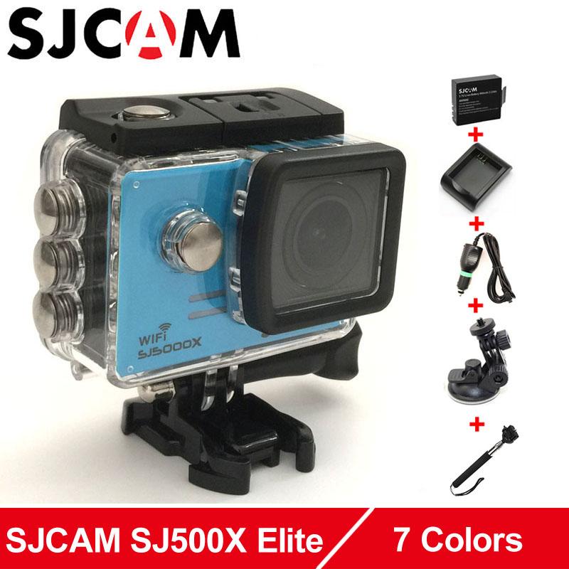 Prix pour SJCAM SJ5000X Elite WiFi 4 K 24fps 2 K 30fps Gyro Camera Action + Supplémentaire 1 pcs Batterie + Batterie chargeur + Chargeur De Voiture + Support De Voiture + Monopode