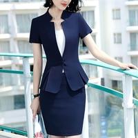 2019 New fashion Business skirt suit women summer formal Short Sleeve blazer and skirt office ladies plus size 4XL uniforms