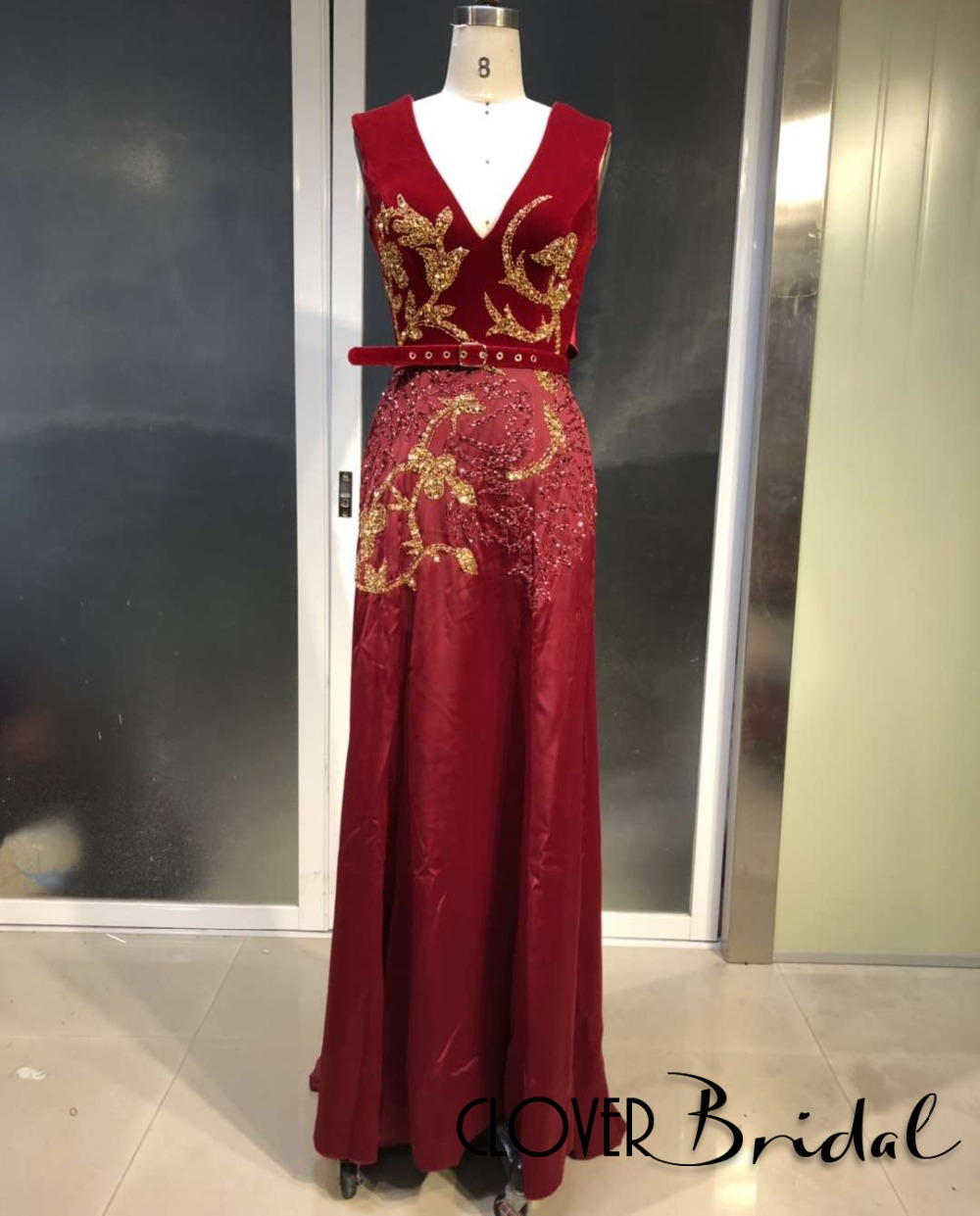 CloverBridal 2019 latest V neck & back beaded patterns burgundy velvet   prom     dress   with waistband ocean blue satin gown