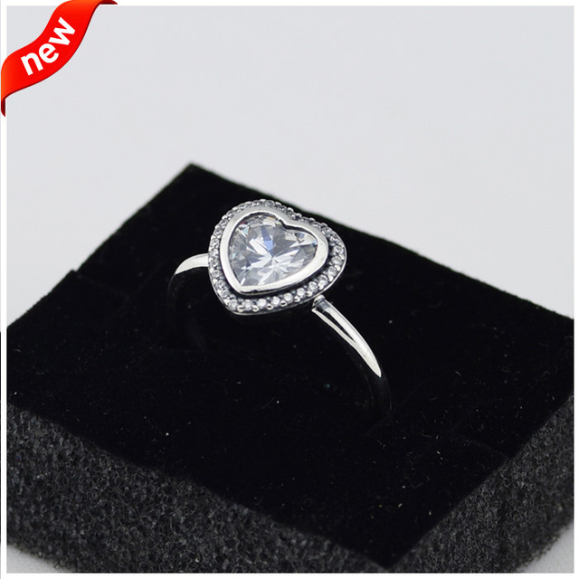 Heart Rings With Clear Cubic Zirconia 100% 925 Sterling Silver Fine Jewelry Free Shipping