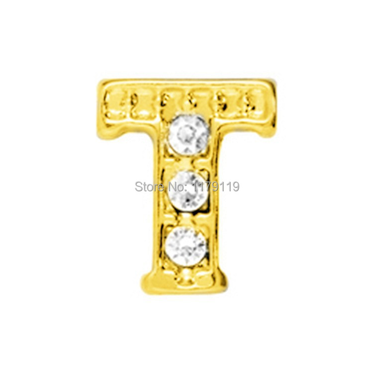 20pcs/lot New Items Gold Alphabet Word T Charms Fit Memory Living Locket Jewelry CMM#846(Free Shipping)