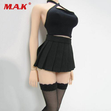 1/6 scale female girl halter tops&dress&stocking clothes set black PL98 for woman seamless body large bust PHICEN doll toys acc