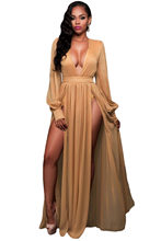 2016 New Summer Women s Sexy Shimmer Mocha Blue Slit Goddess Dress  LGY61198(China) 96c619df297c