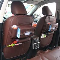 Auto Back Seat Storage Bag Folding Car Organizer PU Leather Travel Bottle Holder Tissue Box Magazine Phone Chair Storage Pocket