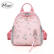 Pink Womens Small Embroidery Flowers Backpack Bunny Pendant Female Travel Shoulder Bag Mochila Teenager Girls School 2019