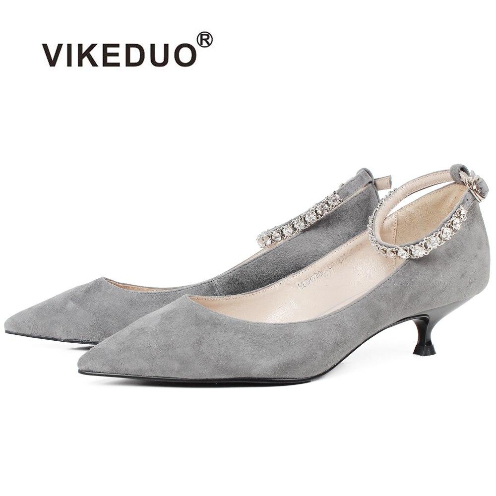 VIKEDUO/2019 г. Новые летние женские туфли на высоком каблуке, серые женские модные туфли лодочки из натуральной овечьей кожи, свадебные туфли с о