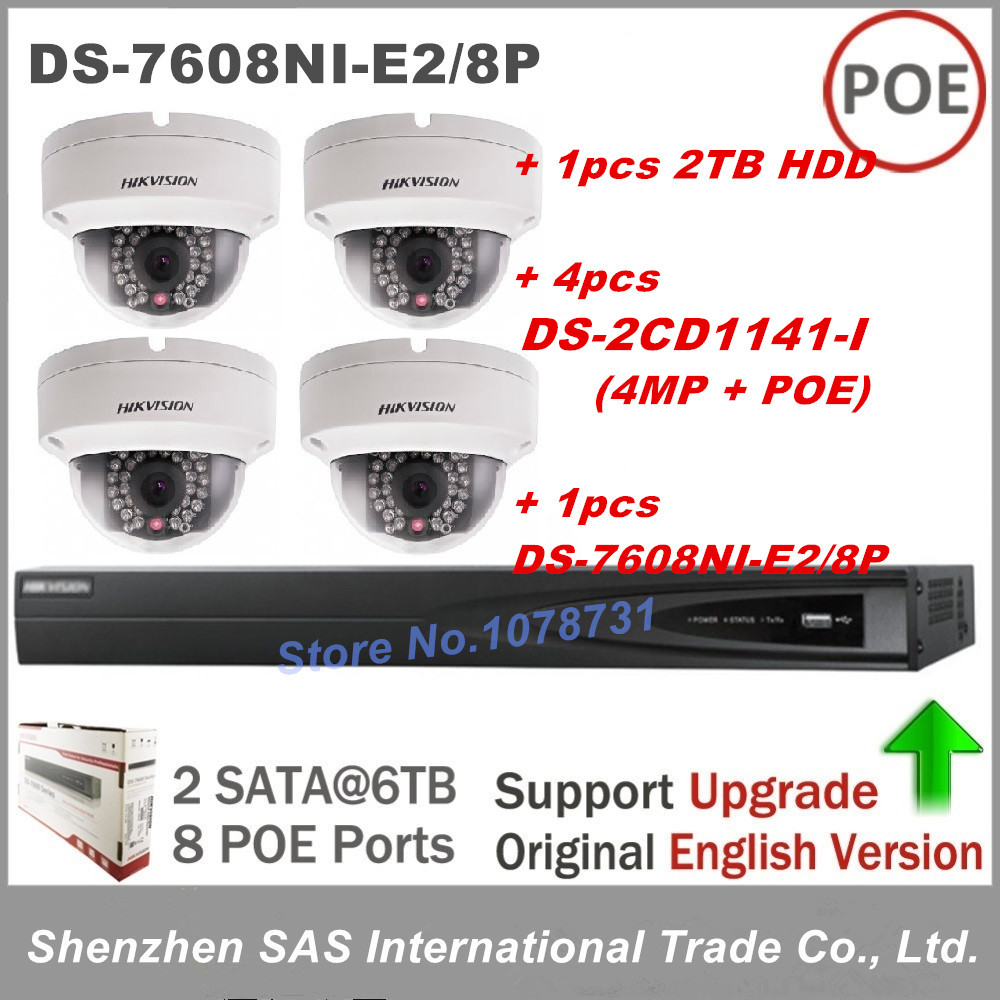 Hikvision NVR DS-7608NI-E2/8P 8CH with 8ports POE + 2TB HDD + 4pcs Hikvision DS-2CD1141-I 4MP Network Dome IP Security Camera