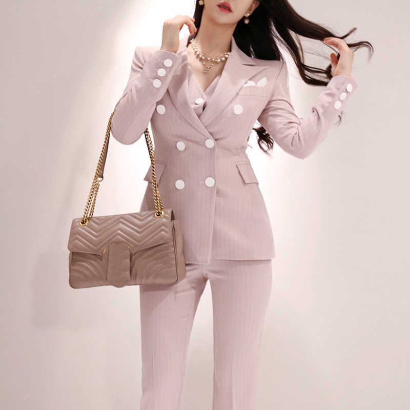 2019 Office Ladies Striped 3 Pieces Set Double Breasted Slim Blazer & Patchwork Tops & High Waist Pants Women Pant Suits