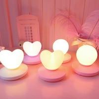 Night light USB Rechargable Romantic Love Heart shape Decoration Table Lamp kids Baby Sleeping sensor Light Home Decoration
