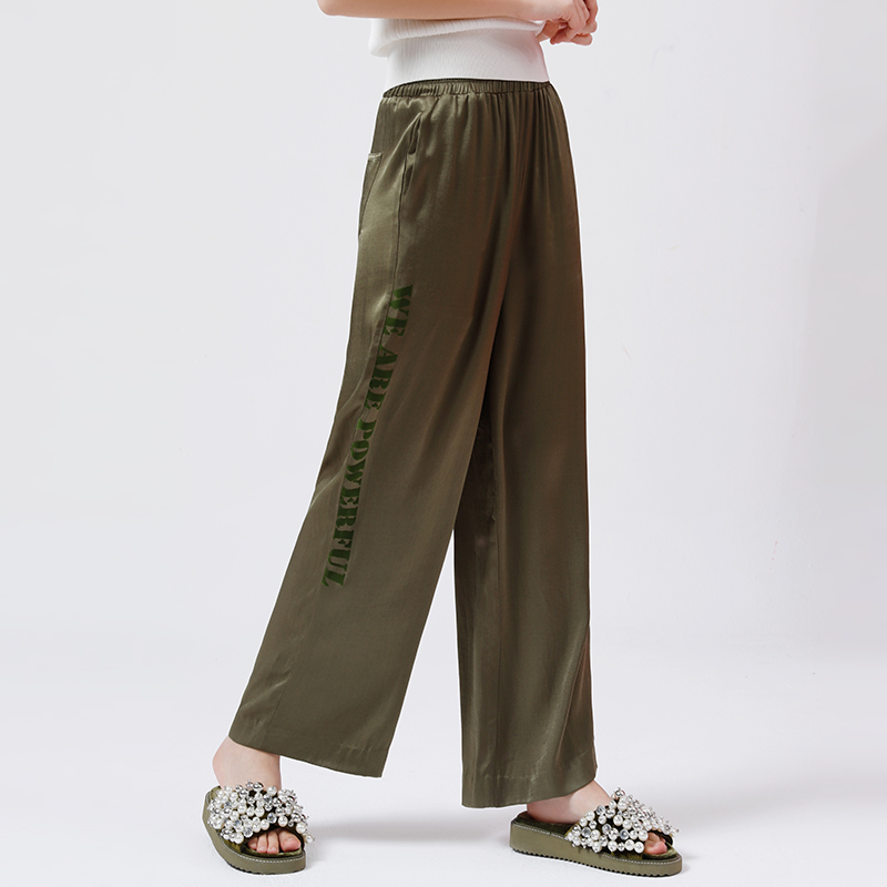 Toyouth 2018 Summer Casual Elastic High Waist Trousers Straight Side Letter Print Wide Leg Pants Women Slim High Street Pants