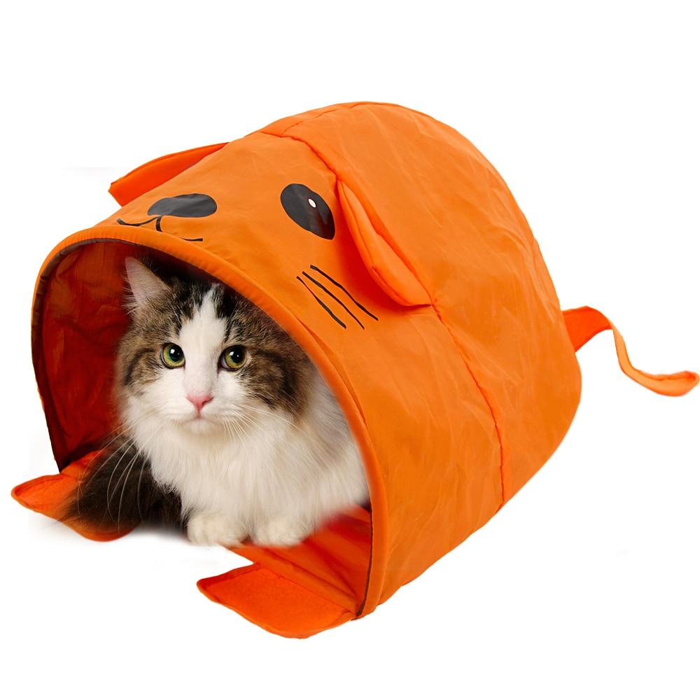 Cartoon kattenbed met geluidsbeklederbed voor kleine en middelgrote dieren Reizen Zeer leuk Inklapbare katentunnel Eenvoudige opslag