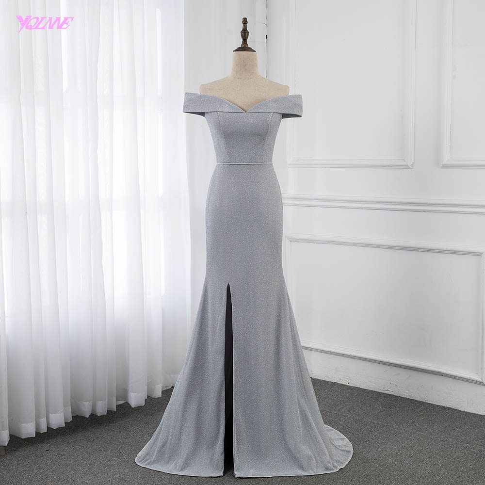 YQLNNE Silver Off the Shoulder   Evening     Dress   Formal Gowns Mermaid Slit Right Women Party   Dresses