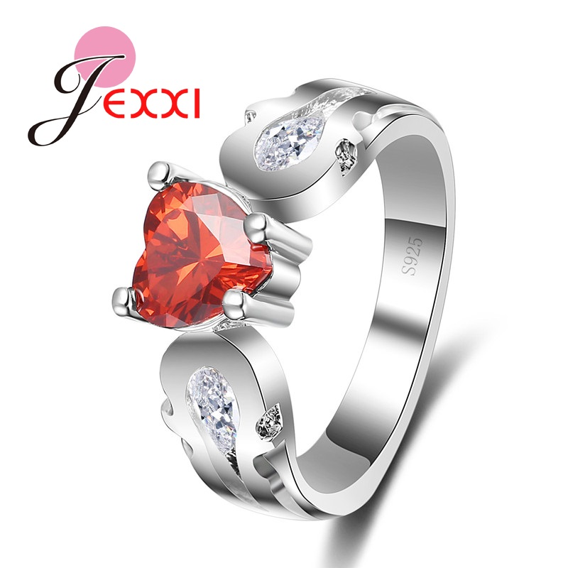 JEXXI Beautiful Street Style Woman Lovely Fruit Apple 925 Stamp Sterling Silver Finger Rings Fashion Lady Jewelry Christmas Gift