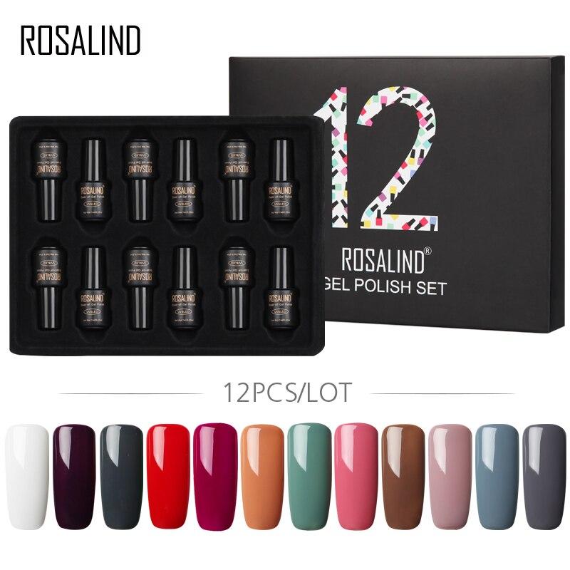 (12 pçs/lote) ROSALIND 7 ml Vernizes Gel Set Para A Extensão Do Prego Kit Cartilha UV Unhas de Gel Kit Manicure Polonês Top De Base